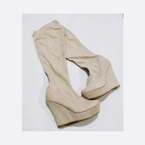 Shoes - Suede Knee-high Platform Boots